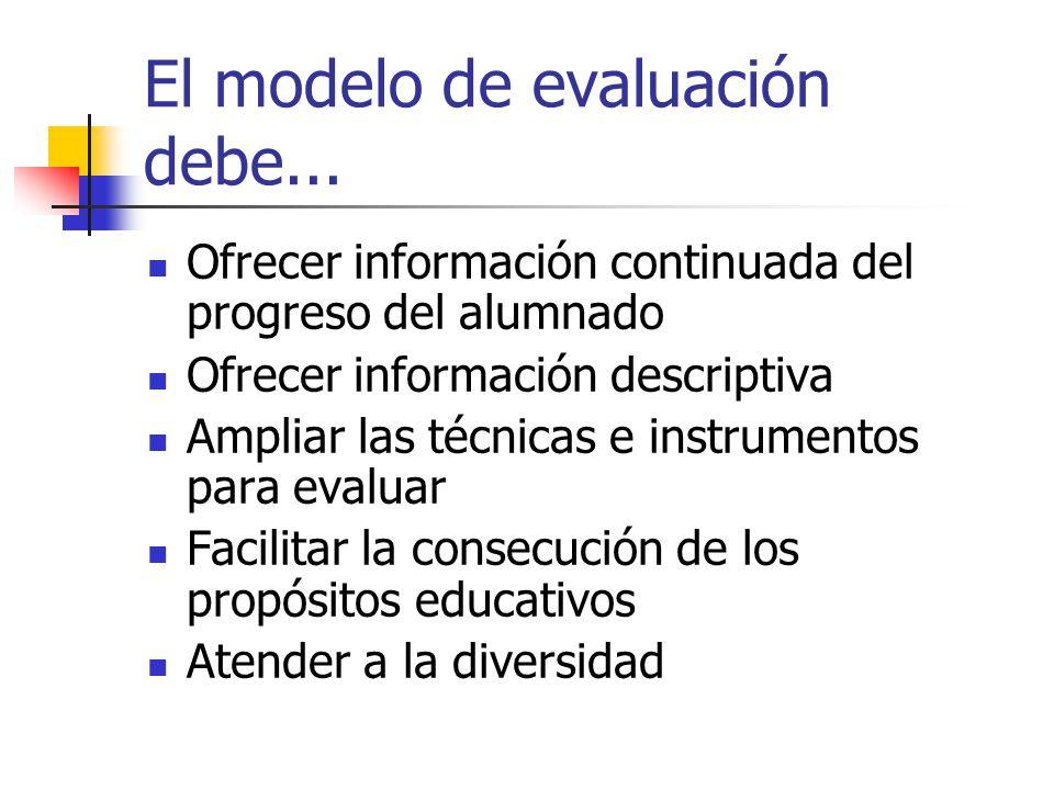 El modelo de evaluación debe...