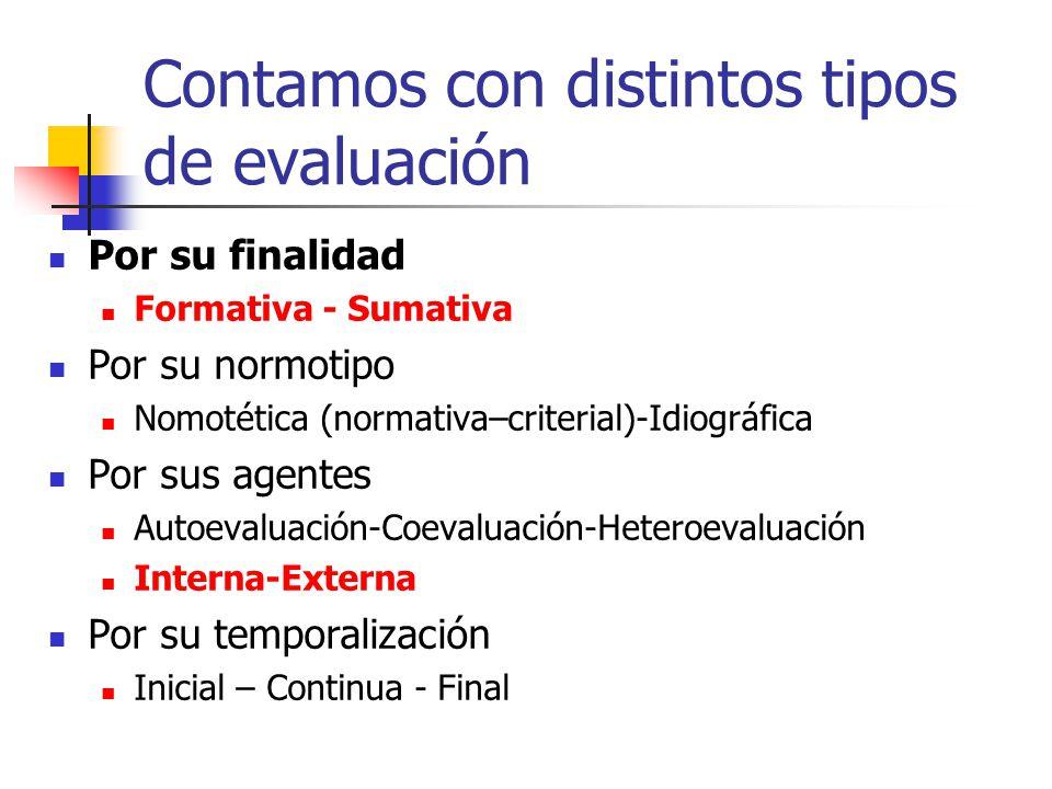 Contamos con distintos tipos de evaluación