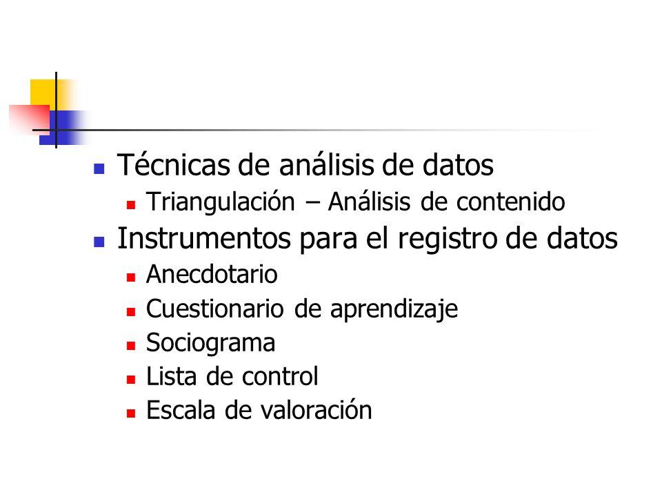 Técnicas de análisis de datos Instrumentos para el registro de datos