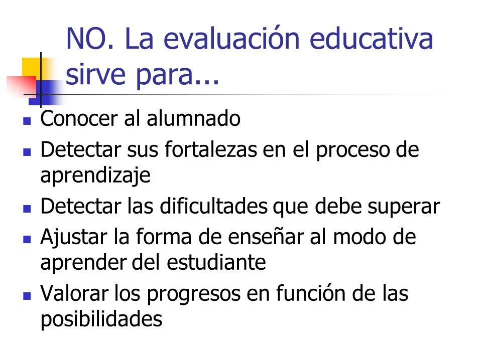 NO. La evaluación educativa sirve para...
