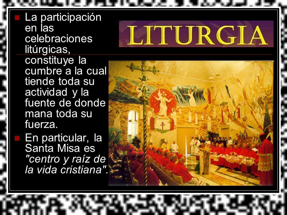 La participación en las celebraciones litúrgicas, constituye la cumbre a la cual tiende toda su actividad y la fuente de donde mana toda su fuerza.
