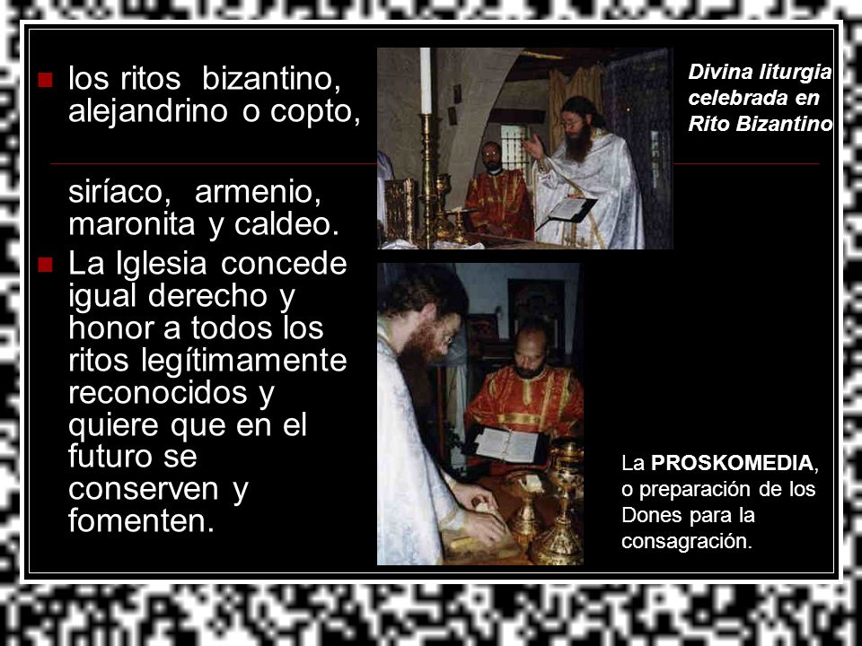 los ritos bizantino, alejandrino o copto,