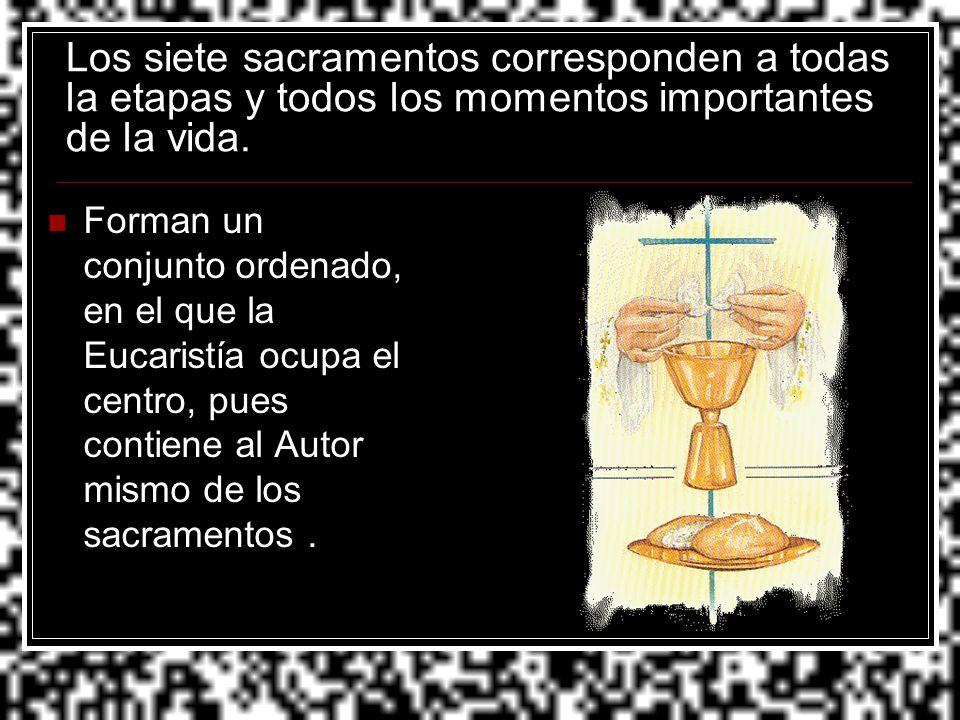 Los siete sacramentos corresponden a todas la etapas y todos los momentos importantes de la vida.