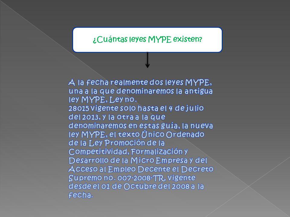 ¿Cuántas leyes MYPE existen