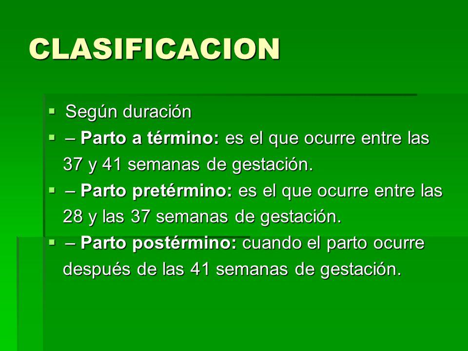 CLASIFICACION Según duración