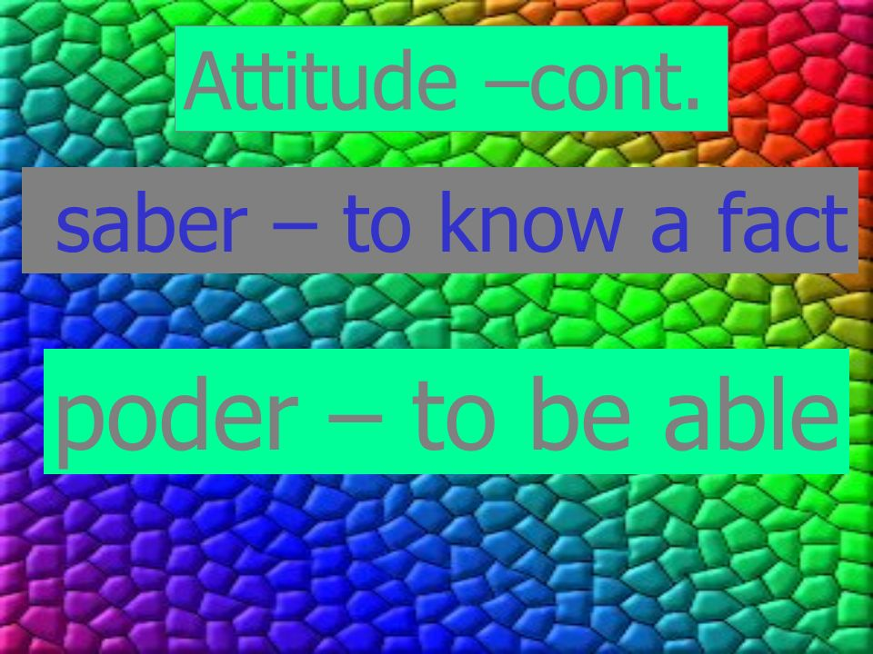 Attitude –cont. saber – to know a fact poder – to be able
