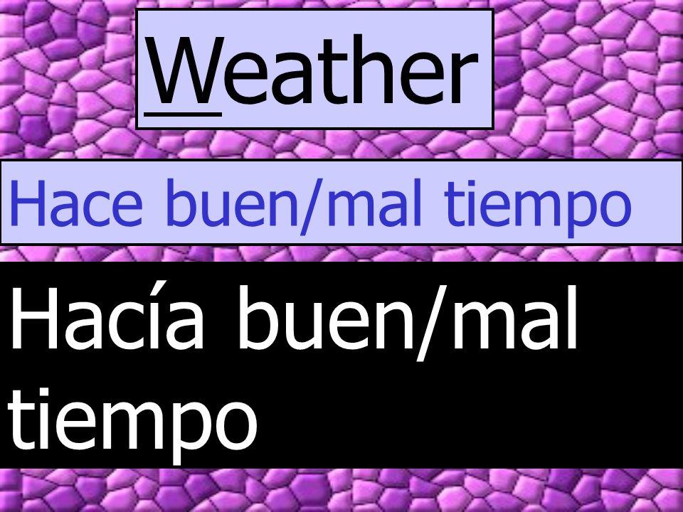 Weather Hace buen/mal tiempo Hacía buen/mal tiempo