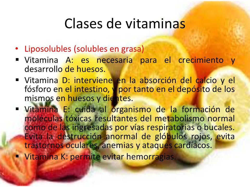 Clases de vitaminas Liposolubles (solubles en grasa)