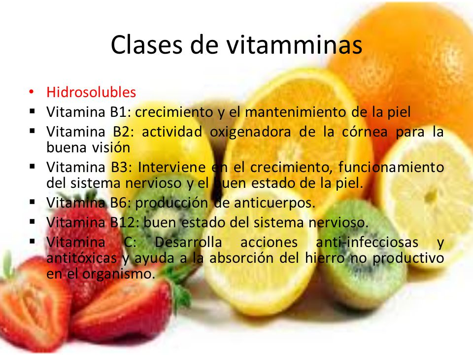 Clases de vitamminas Hidrosolubles