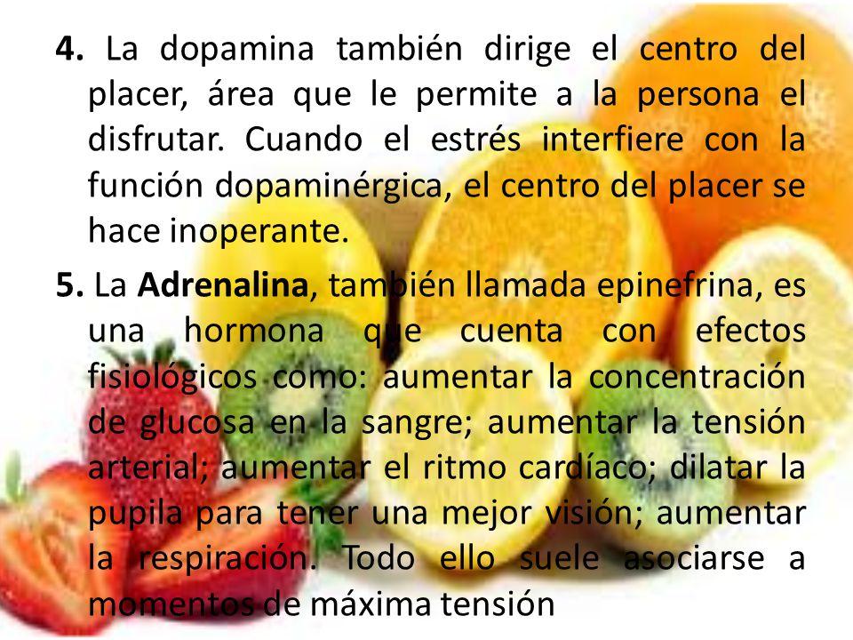 4. La dopamina también dirige el centro del placer, área que le permite a la persona el disfrutar.