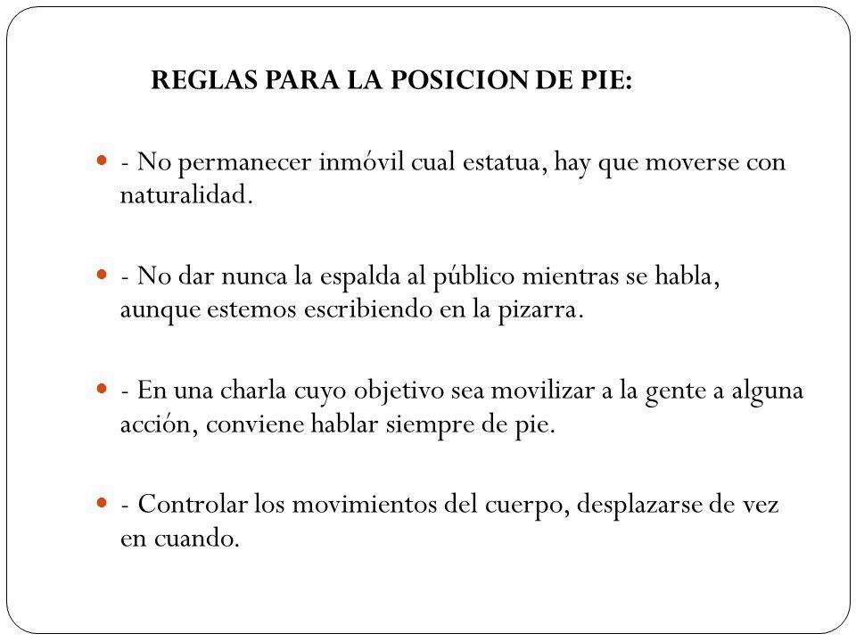 REGLAS PARA LA POSICION DE PIE: