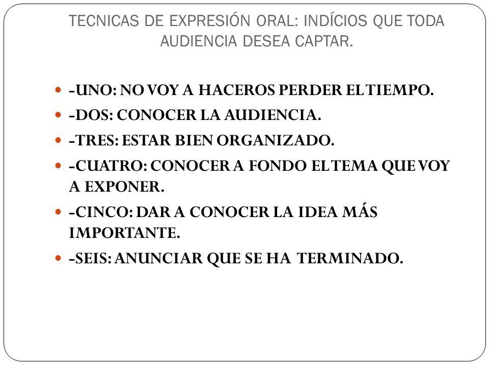 TECNICAS DE EXPRESIÓN ORAL: INDÍCIOS QUE TODA AUDIENCIA DESEA CAPTAR.