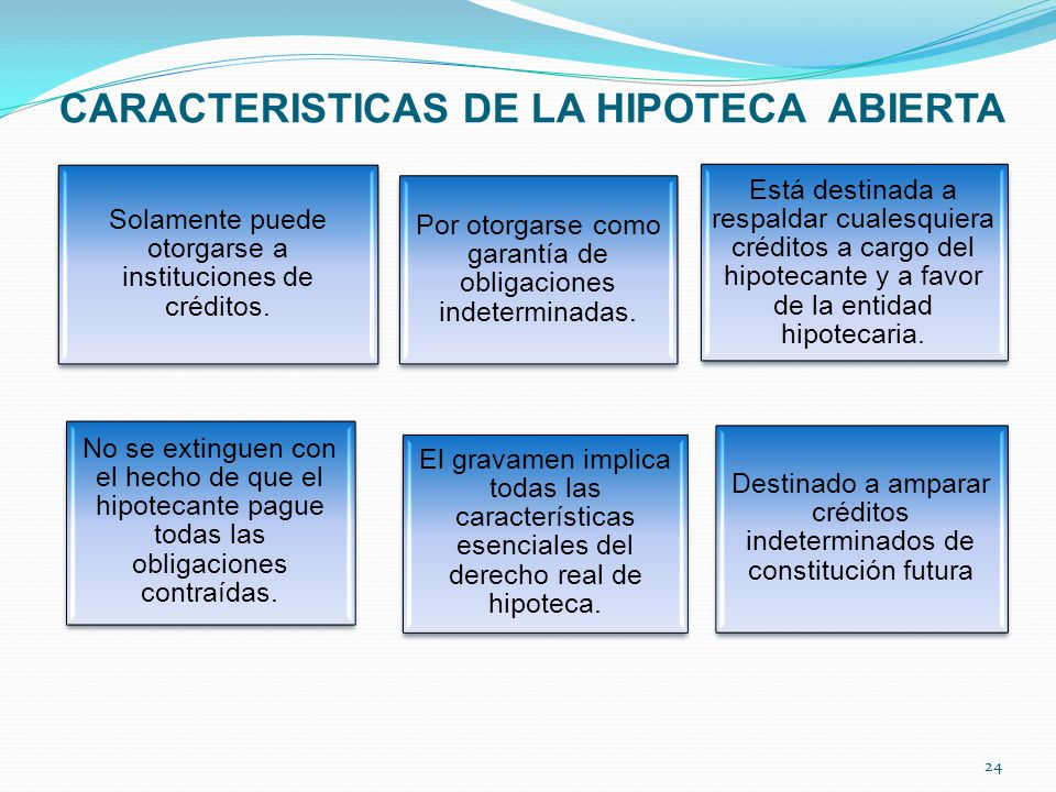 CARACTERISTICAS DE LA HIPOTECA ABIERTA