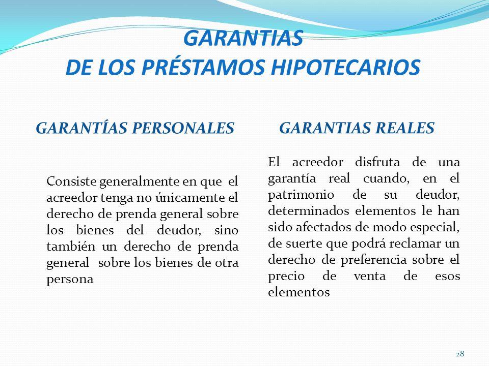 GARANTIAS DE LOS PRÉSTAMOS HIPOTECARIOS