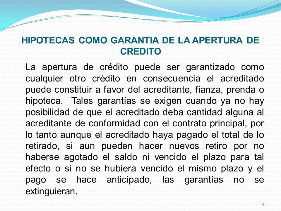 HIPOTECAS COMO GARANTIA DE LA APERTURA DE CREDITO