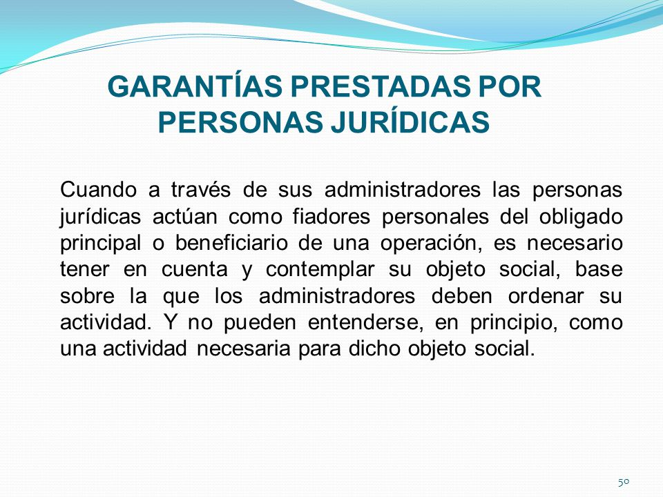 GARANTÍAS PRESTADAS POR PERSONAS JURÍDICAS