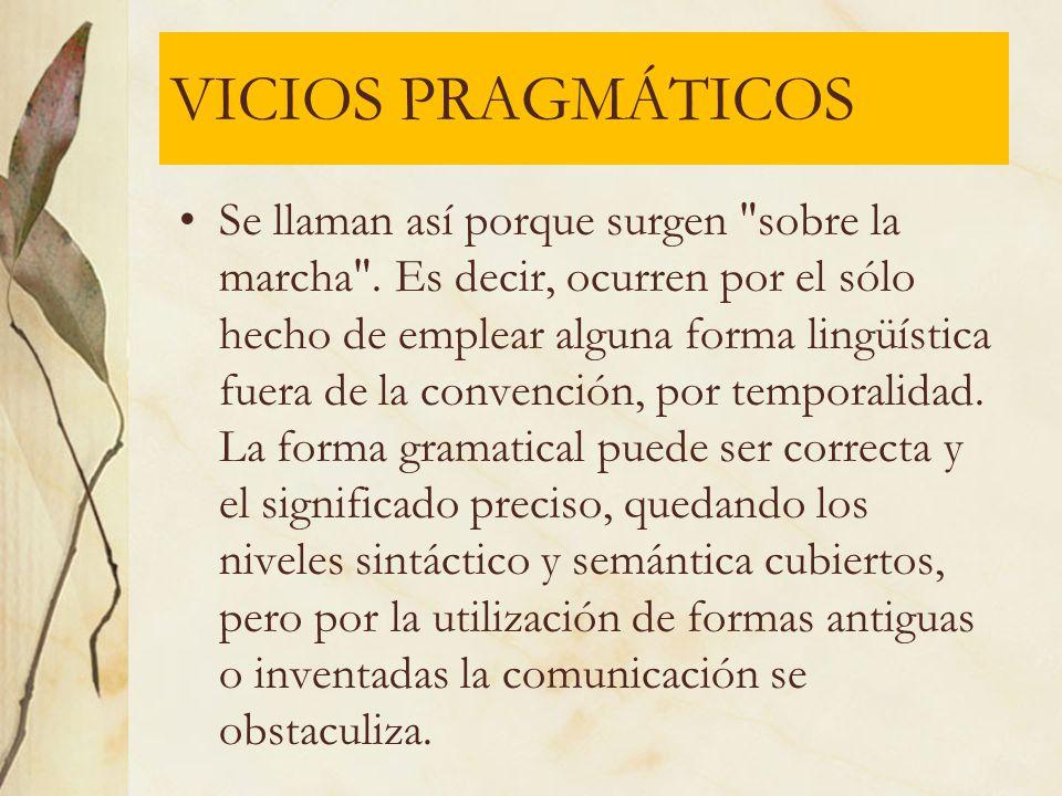 VICIOS PRAGMÁTICOS