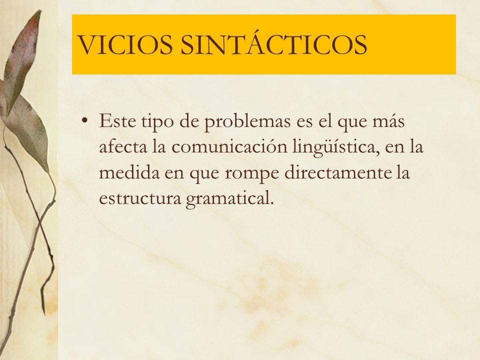 VICIOS SINTÁCTICOS