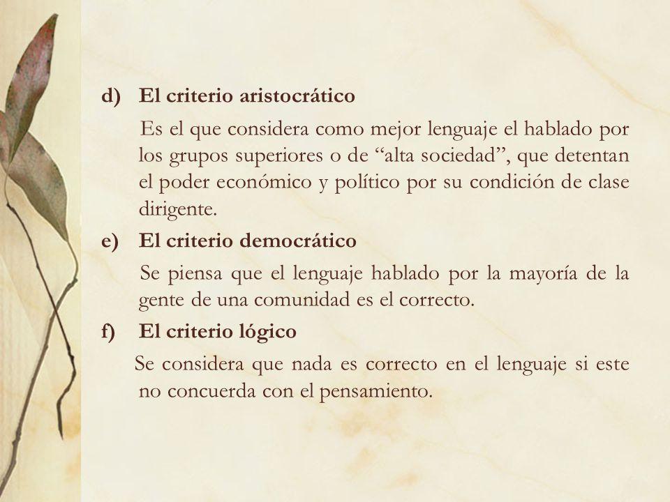 El criterio aristocrático