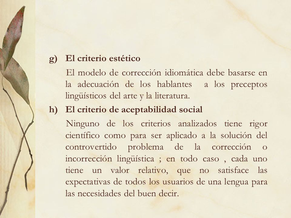 El criterio estético