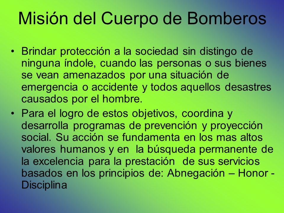 Misión del Cuerpo de Bomberos
