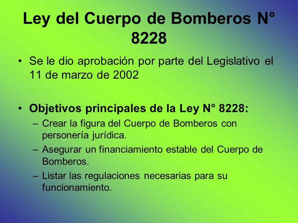 Ley del Cuerpo de Bomberos N° 8228