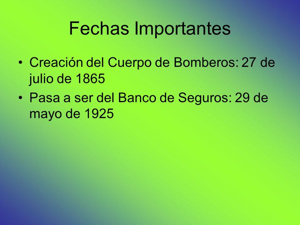 Fechas Importantes Creación del Cuerpo de Bomberos: 27 de julio de 1865.