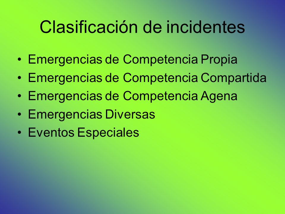 Clasificación de incidentes