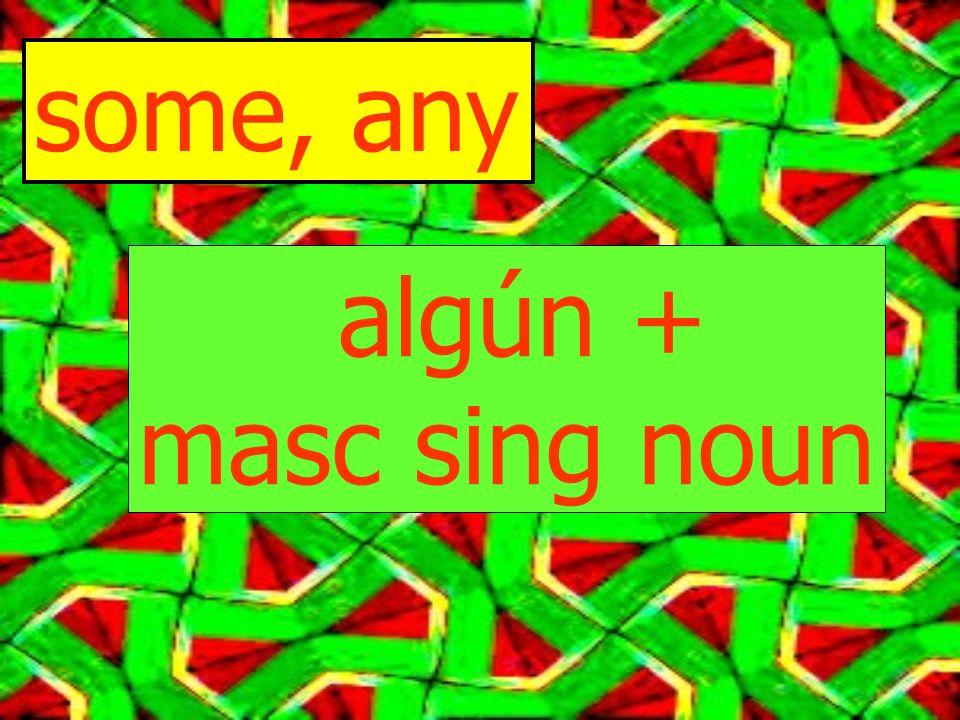 some, any algún + masc sing noun