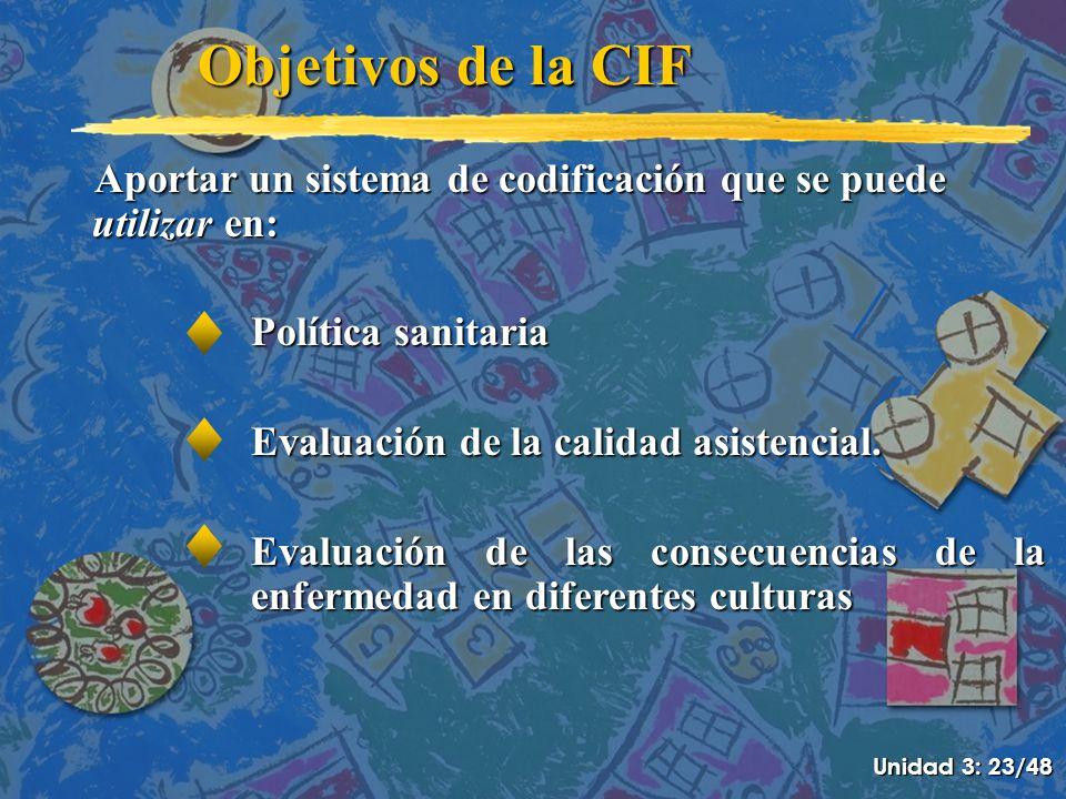 Objetivos de la CIF Aportar un sistema de codificación que se puede utilizar en: Política sanitaria.