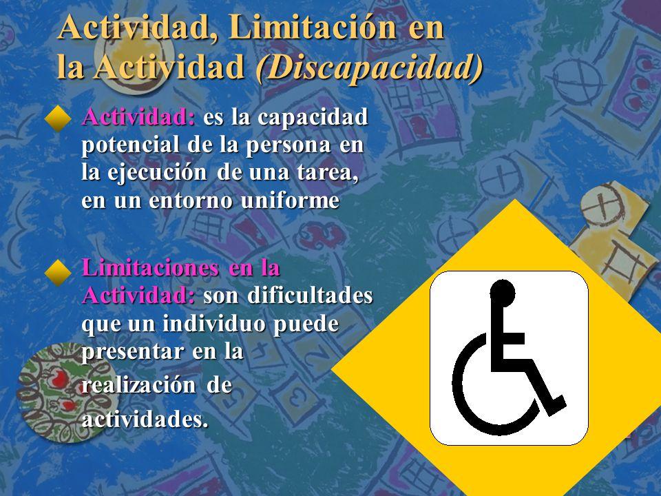 Actividad, Limitación en la Actividad (Discapacidad)