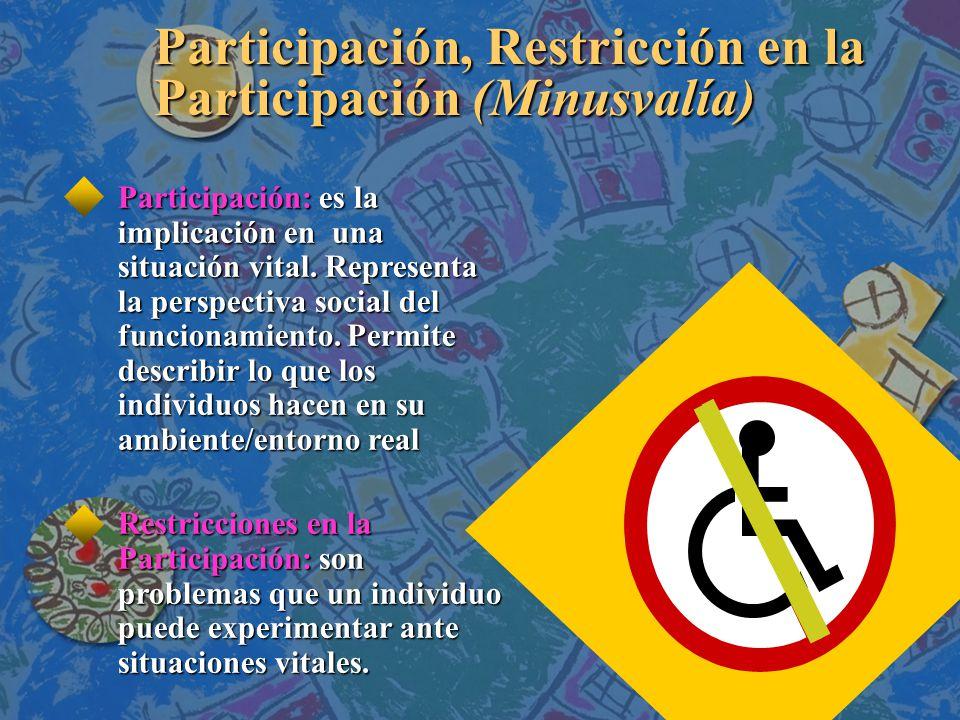Participación, Restricción en la Participación (Minusvalía)