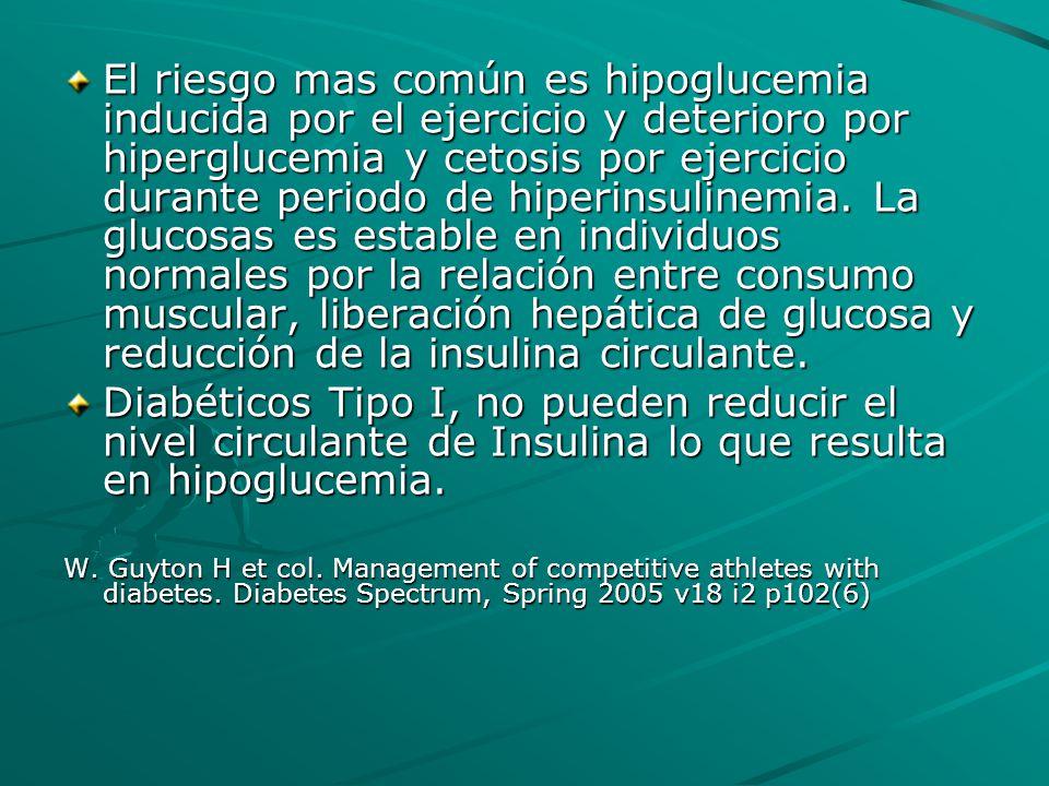 El riesgo mas común es hipoglucemia inducida por el ejercicio y deterioro por hiperglucemia y cetosis por ejercicio durante periodo de hiperinsulinemia. La glucosas es estable en individuos normales por la relación entre consumo muscular, liberación hepática de glucosa y reducción de la insulina circulante.