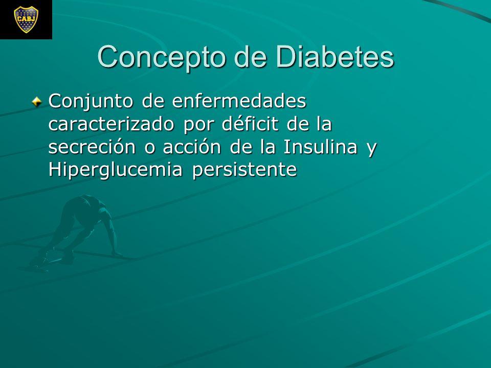 Concepto de Diabetes Conjunto de enfermedades caracterizado por déficit de la secreción o acción de la Insulina y Hiperglucemia persistente.