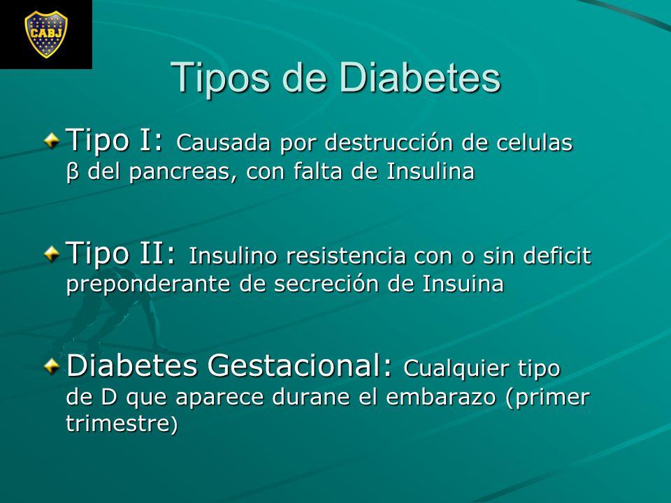 Tipos de Diabetes Tipo I: Causada por destrucción de celulas β del pancreas, con falta de Insulina.
