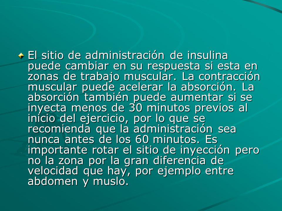 El sitio de administración de insulina puede cambiar en su respuesta si esta en zonas de trabajo muscular.