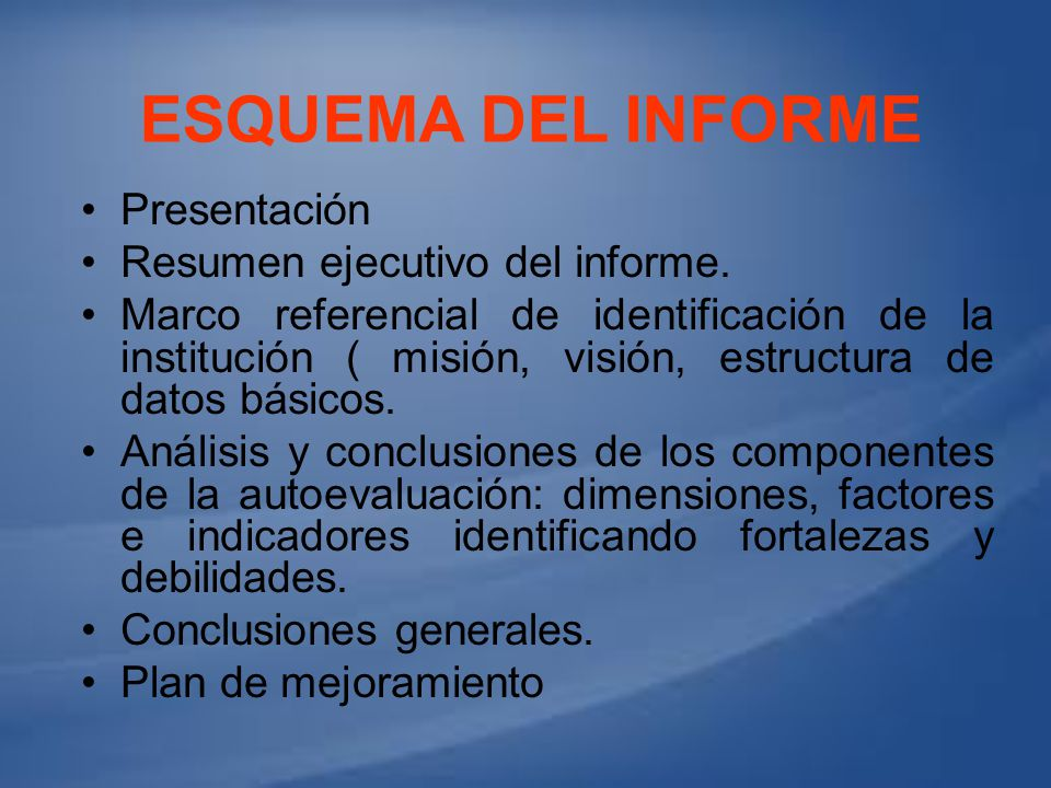 Esquema del informe Presentación Resumen ejecutivo del informe.