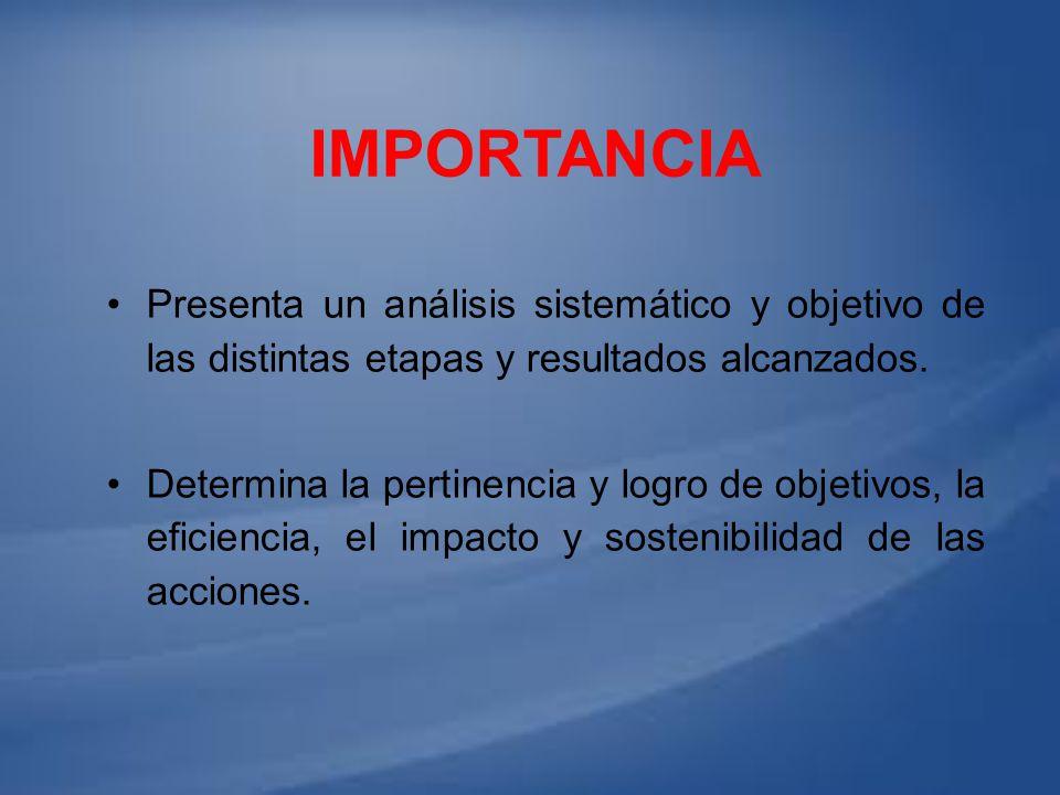Importancia Presenta un análisis sistemático y objetivo de las distintas etapas y resultados alcanzados.