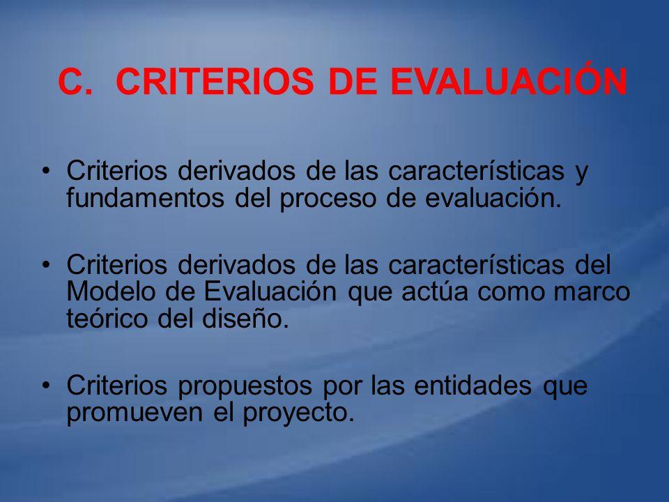 C. Criterios de evaluación