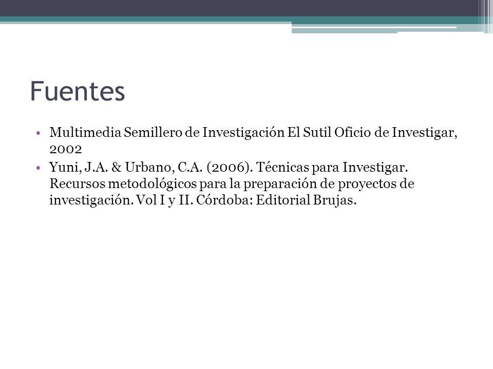 Fuentes Multimedia Semillero de Investigación El Sutil Oficio de Investigar, 2002.
