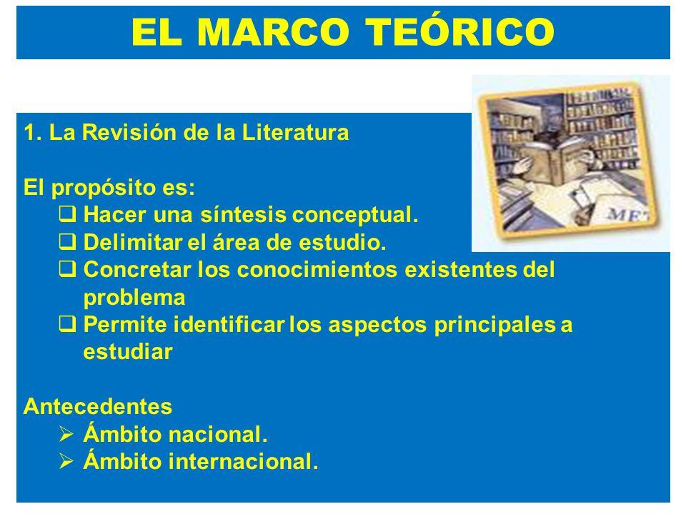 EL MARCO TEÓRICO La Revisión de la Literatura El propósito es: