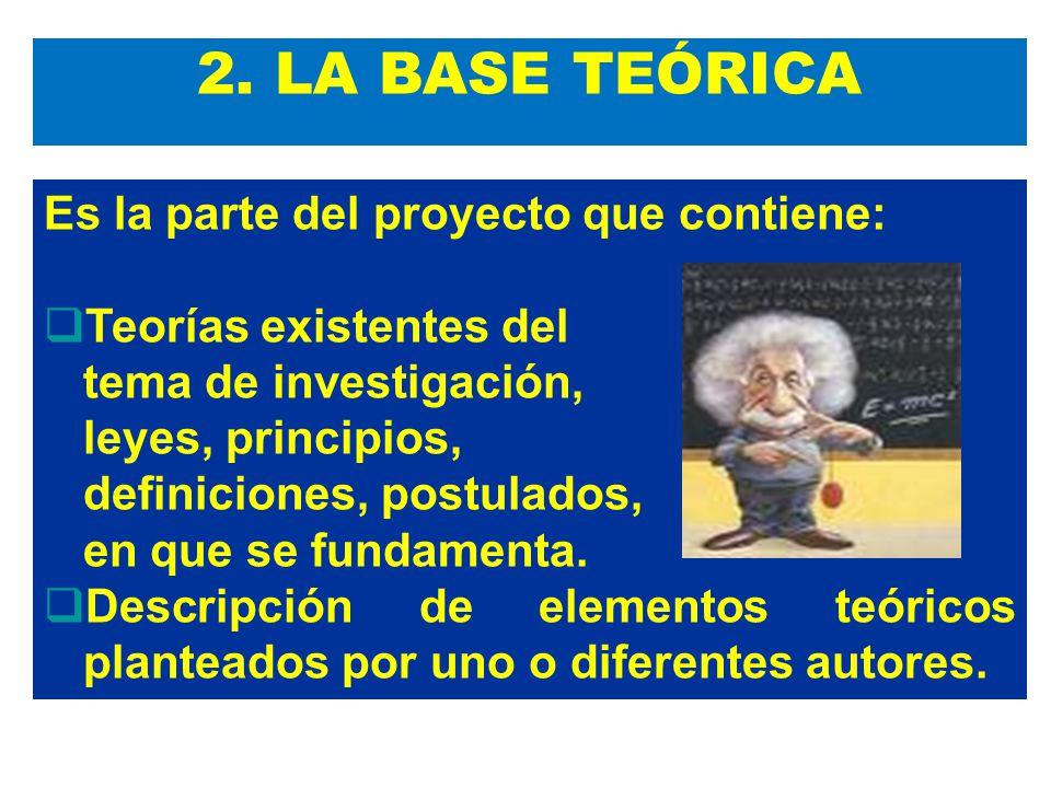 2. LA BASE TEÓRICA Es la parte del proyecto que contiene: