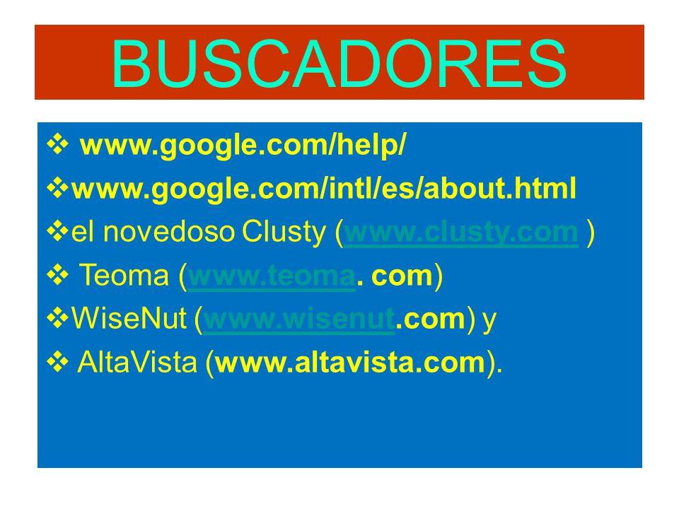 BUSCADORES www.google.com/help/ www.google.com/intl/es/about.html