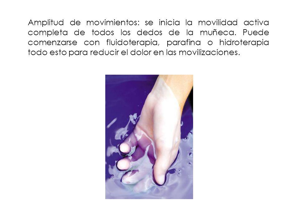 Amplitud de movimientos: se inicia la movilidad activa completa de todos los dedos de la muñeca.