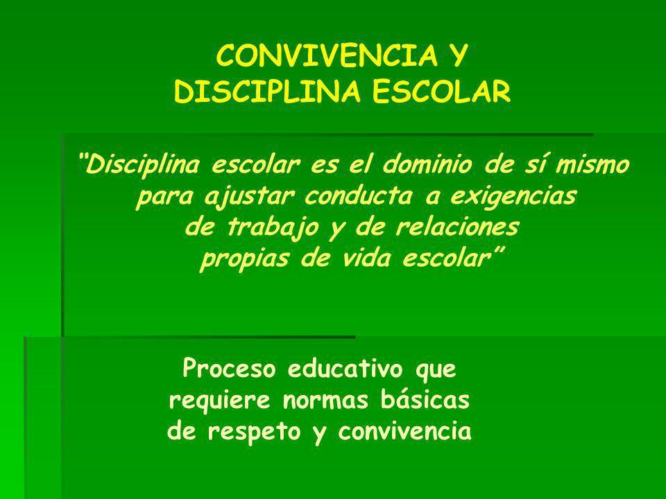 CONVIVENCIA Y DISCIPLINA ESCOLAR