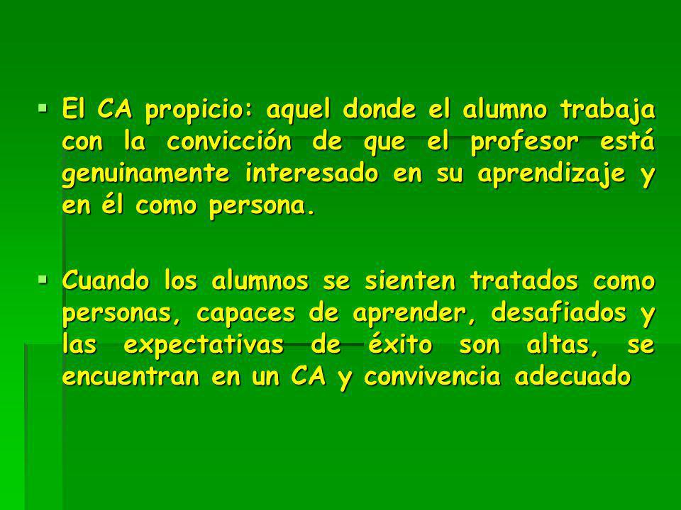 El CA propicio: aquel donde el alumno trabaja con la convicción de que el profesor está genuinamente interesado en su aprendizaje y en él como persona.