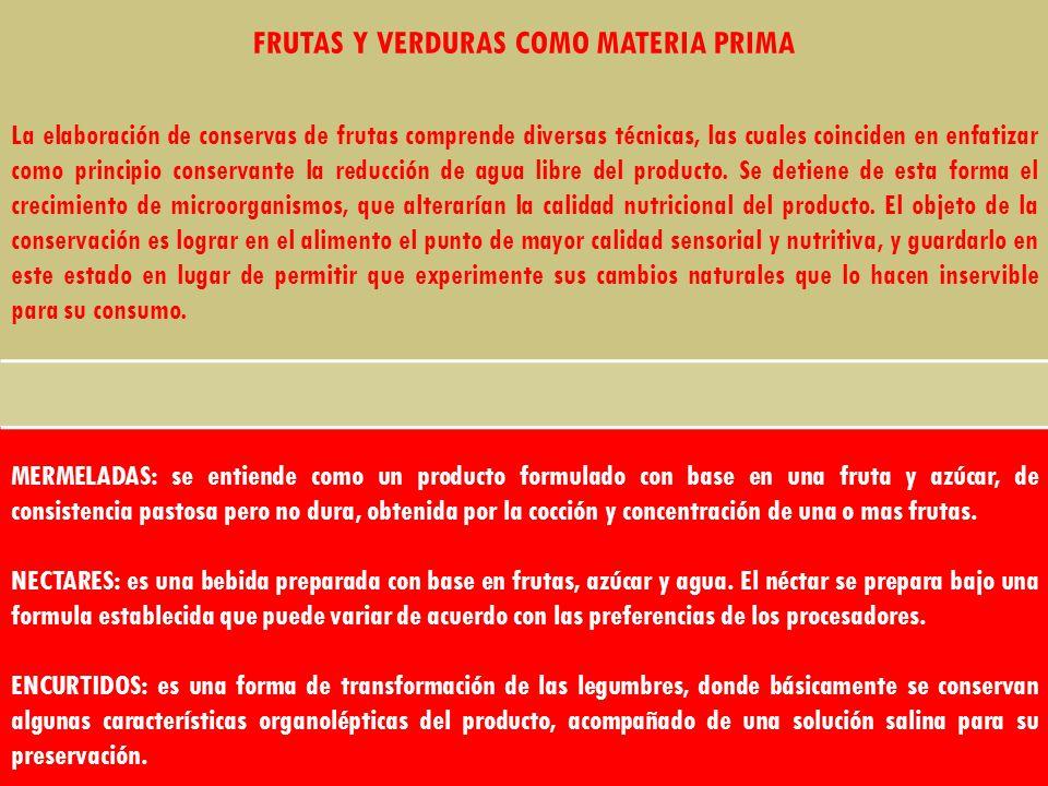 FRUTAS Y VERDURAS COMO MATERIA PRIMA