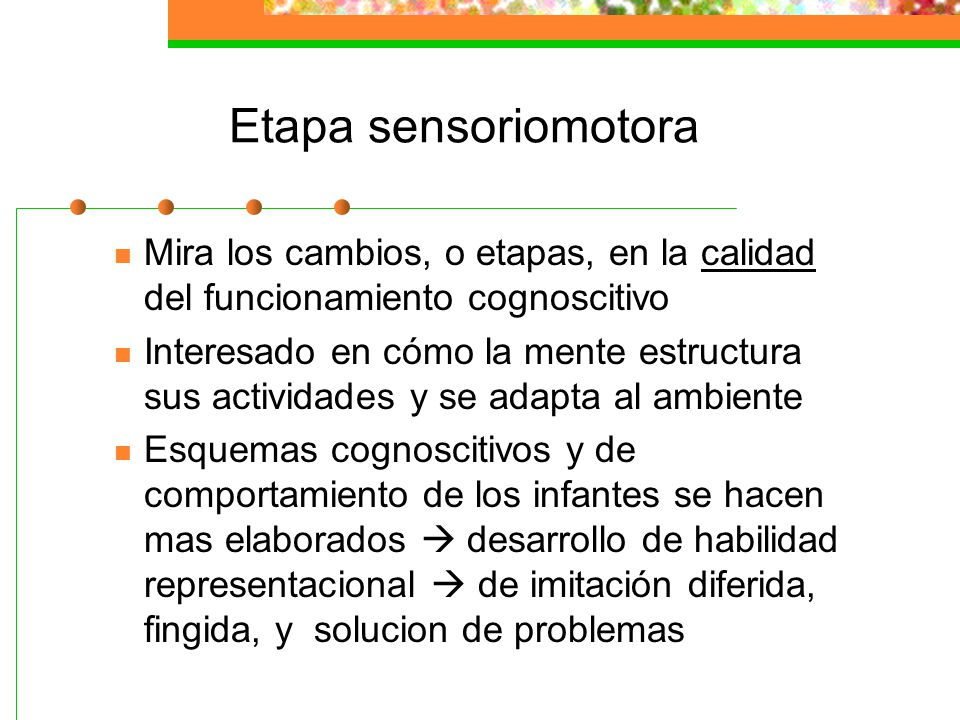 Etapa sensoriomotora Mira los cambios, o etapas, en la calidad del funcionamiento cognoscitivo.