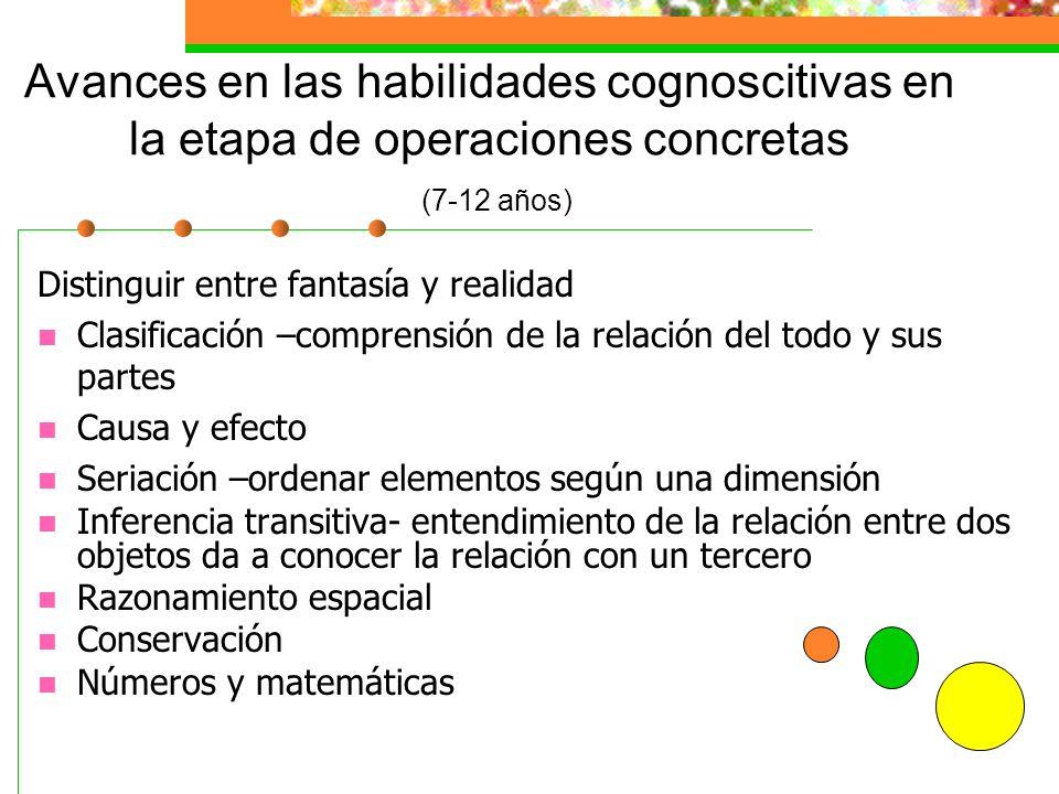 Avances en las habilidades cognoscitivas en la etapa de operaciones concretas (7-12 años)