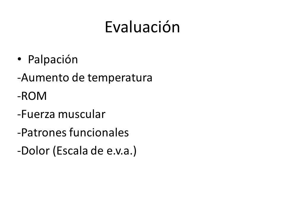 Evaluación Palpación -Aumento de temperatura -ROM -Fuerza muscular